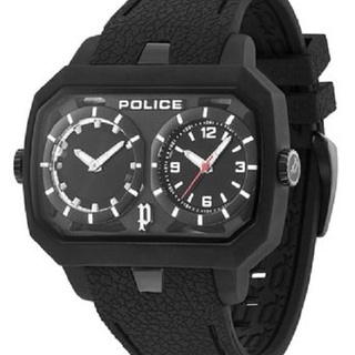 Police Hydra Black Dual-Time Rubber Watch (PPL.13076JPB-02)