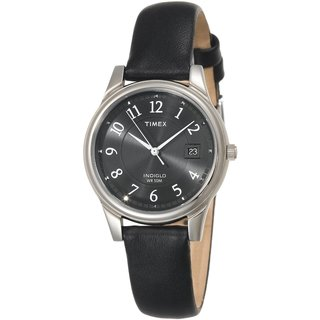 Timex Men's Black Leather Strap Watch (T29321)