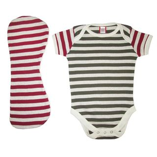 Bug & Kelly Striped Army Green and Maroon Onesie with Burp Cloth