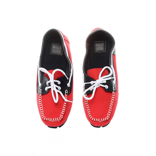 The Shoe Cycle Ladies Topsider Red/Black