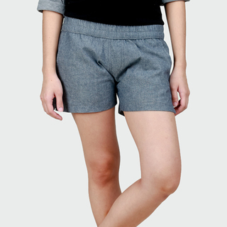 Women's Charcoal Chambray Tailored Shorts