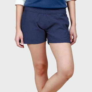 Women's Navy Blue Chambray Tailored Shorts