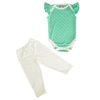 Bug & Kelly Apple Green Mini Polka Flutter Sleeve Onesie Set