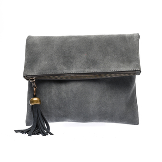 The School of Satchel Foldable Suede Clutch (Blue Gray)