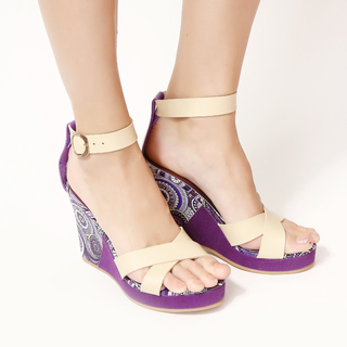 Jac&Jam	HIGH WEDGE CROSS SLIDES W/ ANKLE STRAP SANDALS - Orchid (JSW1-913)