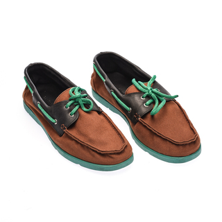 The Shoe Cycle Ariel Boat Shoes  - Green / Brown (ARIEL 001)