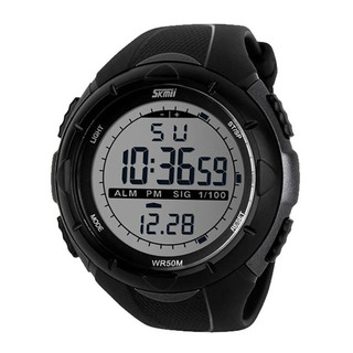 50M Waterproof Sport Watch With Stop Watch Timer - Silver-Black