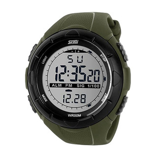 50M Waterproof Sport Watch With Stop Watch Timer - Green