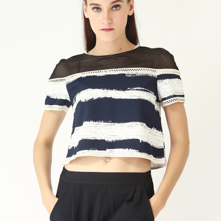 Leila & Luli Striped Crop Top With Mesh LL0034 (Blue)