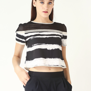 Leila & Luli Striped Crop Top With Mesh LL0036 (Black)