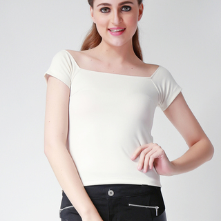 Ashley Collection Brenda Off Shoulder Top (731-Beige)