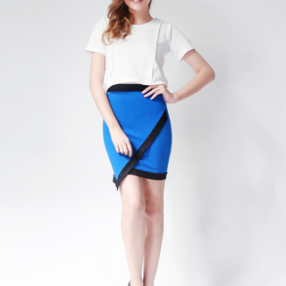 Ashley Collection Cassandra Assymetrical Pencil Skirt (822-Royal Blue)