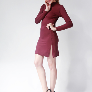 Ashley Collection Arianna Turtle Neck Long Sleeve Bodycon Dress (601-Maroon)