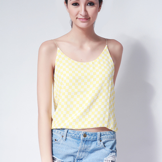 Ashley Collection Belle Strappy Top (183-Checkered Yellow)