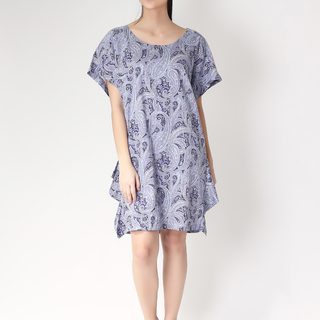 Leila & Luli Purple Paisley Print Cotton Tent Dress LL0095