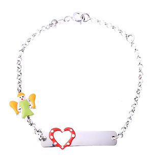 Heart & Angel Kid's ID Bracelet in 14k White Gold