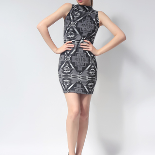 Ashley Collection Anesley Turtle Neck Bodycon Dress (445-Aztec Gray)