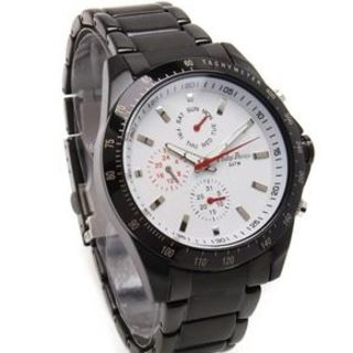 Philip Persio Men's Analog Chronograph Watch - Black Metal Strap 2591BK-W (1117010) *WITH FREE CHERISH CHARM BRACELET