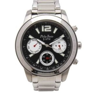 Philip Persio Men's Analog Chronograph Watch, Silver Stainless Steel Strap Watch 2228SS-BK (1116993) *WITH FREE CHERISH CHARM BRACELET