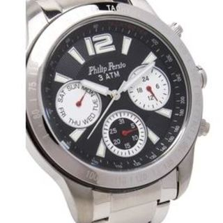 Philip Persio Men's Analog Chronograph Watch, Silver Stainless Steel Strap Watch 2228SS-BK OR HAND (1116994) *WITH FREE CHERISH CHARM BRACELET