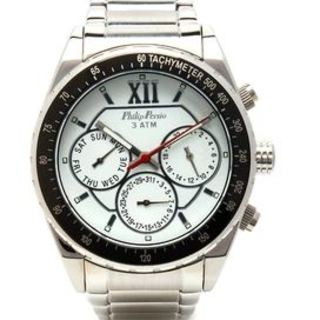Philip Persio Men's Analog Chronograph Watch, Silver Stainless Steel Strap Watch 3325SS-WBK (1117001) *WITH FREE CHERISH CHARM BRACELET