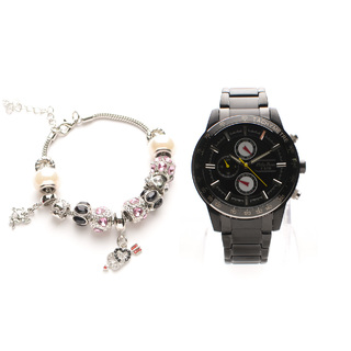 Philip Persio Men's Analog Chronograph Watch,Black Metal Strap Watch 3333BK-BK (1117026) *WITH FREE CHERISH CHARM BRACELET
