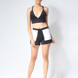 Black Two-toned Neoprene Square Shorts (AW2015TNSS-Bk)