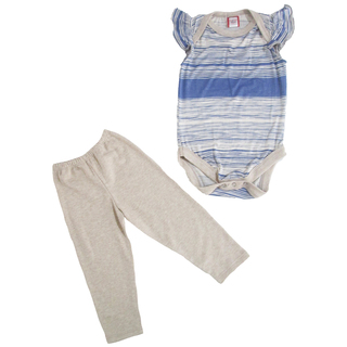 Bug & Kelly Blue and Beige Stripes Onesie Set for Girls