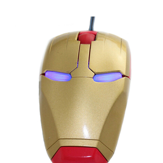 Iron Man Wired 3D Optical Mouse - Red-Gold