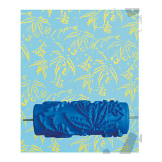15cm Patterned Paint Roller Wall Leaves - Blue