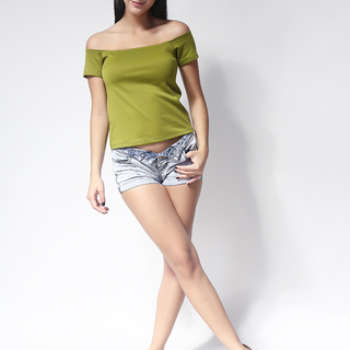Ashley Collection Kylie Off Shoulder Top (731-Yellow Green)