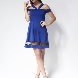 Ashley Collection Jocelyn V-Front Off Shoulder Skater Dress (559-Royal Blue)