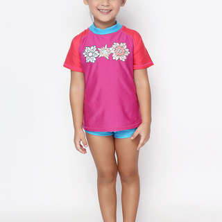 ROCK LOBSTER GIRLS FUCHSIA SHORT SLEEVES RASHGUARD (0214)