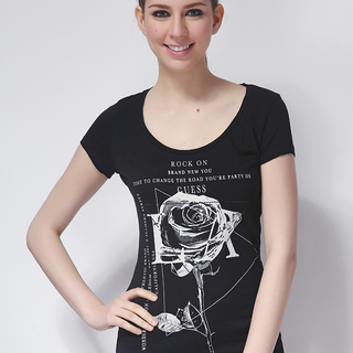 GUESS LDS TEE ROUNDNECK BLACK (48488)
