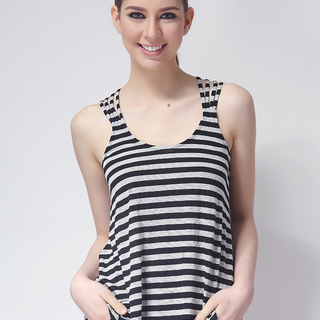FOREVER 21 LDS RACERBACK TOP BLACK/GRAY (48401)