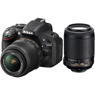 Nikon D5200 Kit (18-55mm & 55-200mm Lens) Black