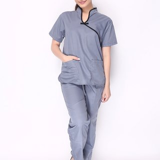CHINESE COLLAR SCRUB SUIT (DARK GRAY TOP WITH BLACK PIPING AND DARK GRAY PANTS)