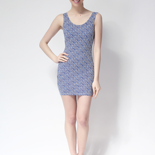 FOREVER 21 BODYCON SLEEVELESS DRESS BLUE (61323)