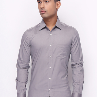 G2000 MENS LONG SLEEVE  WOVEN WITH COLLAR GRAY (47969)