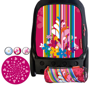 Nikidom Roller RL-9009 Large Bag (Floralia) with Set of Button Pin, Wheel Sticker and Pencil Case (RL9009 , BP9108 , WS9209 & PC9119)