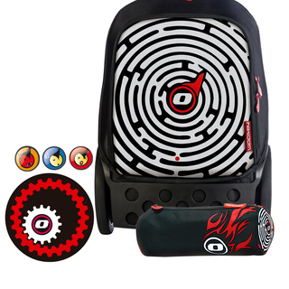 Nikidom Roller RL-9012 Large Soft Case Bag (Labyrinth) with Set of Button Pin, Wheel Sticker and Pencil Case (RL9012 , BP9109 , WS9208 & PC9113)