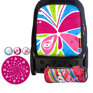 Nikidom Roller RL-9008 Large Bag (Butterfly) with Set of Button Pin, Wheel Sticker and Pencil Case (RL9008 , BP9108 , WS9209 & PC9119)