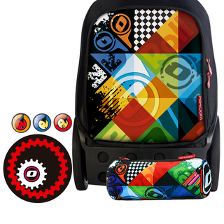 Nikidom Roller RXL-9314 Extra Large Bag (Logomania) with Set of Button Pin, Wheel Sticker and Pencil Case (RXL9314 , BP9109 , WS9208 & PC9117)
