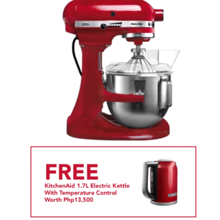 KitchenAid 5Qt Heavy Duty Stand Mixer Empire Red 5KPM5BER 220V with Free KitchenAid Food Chopper and Oster Mini Raclette Grill