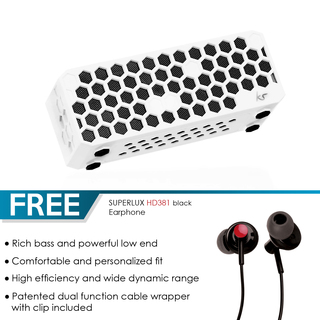 KS Hive Wireless Portable Speaker (White) with FREE Superlux HD381 Black Earphones