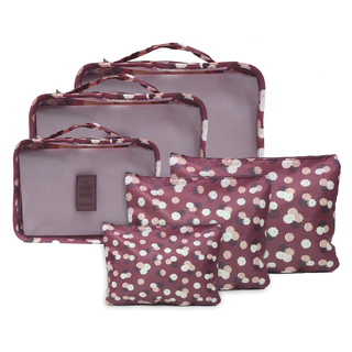 6 in 1 Packing Bags (Floral Maoon)