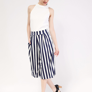 White Pearl Haltered Top and Stripes Culottes from Topmanila Clothing (White Top and Culottes in Blue Stripes Pattern)