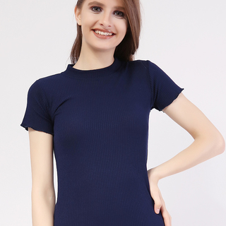 Closed Neck Short Sleeve from Topmanila Clothing (Dark Blue)