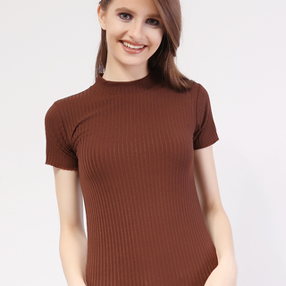 Closed Neck Short Sleeve from Topmanila Clothing (Brown)