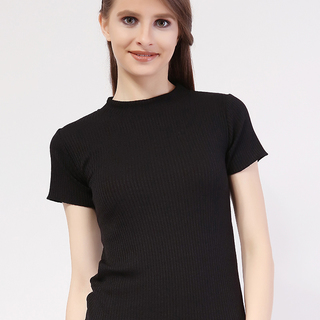 Closed Neck Short Sleeve from Topmanila Clothing (Black)